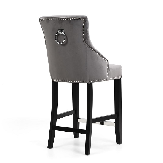 Appleby Bar Chair In Brushed Velvet Grey With Wooden Legs_2