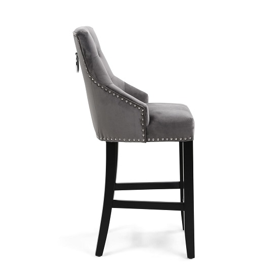 Appleby Bar Chair In Brushed Velvet Grey With Wooden Legs_3