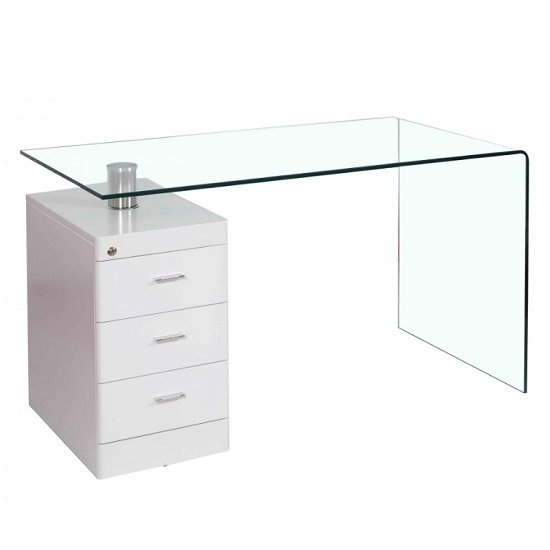 Applegate Glass Computer Desk In Clear And High Gloss White