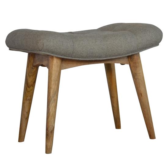 View Aqua fabric curved hallway bench in grey tweed and oak ish