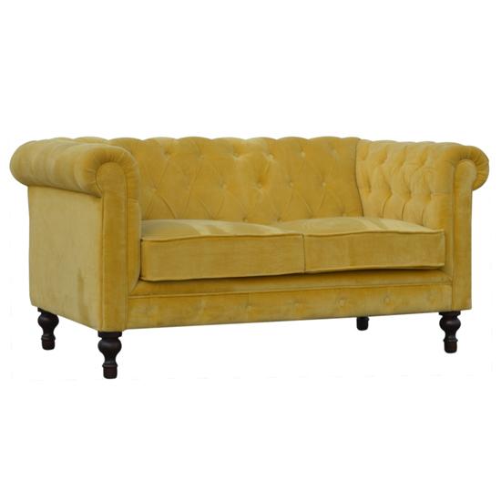 View Aqua velvet 2 seater chesterfield sofa in mustard