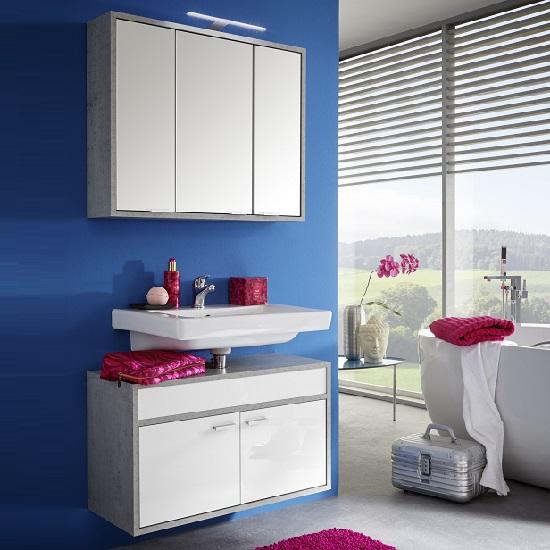 Aqua Wall Mount Bathroom Set In Concrete White High Gloss LED