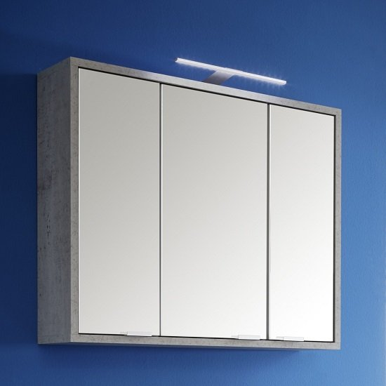 Aqua Wall Mounted Mirror Cabinet In Concrete Gloss White And LED