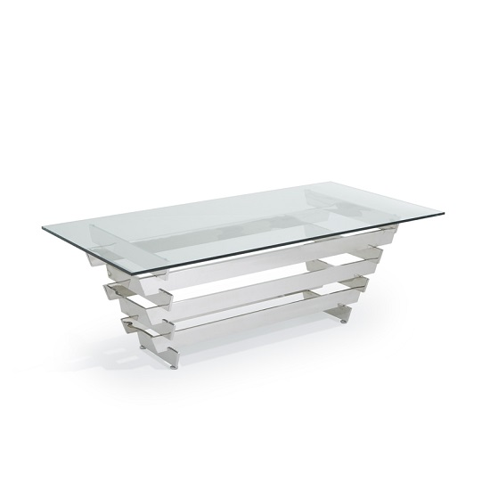 Aqua Glass Coffee Table With Polished Stainless Steel Base