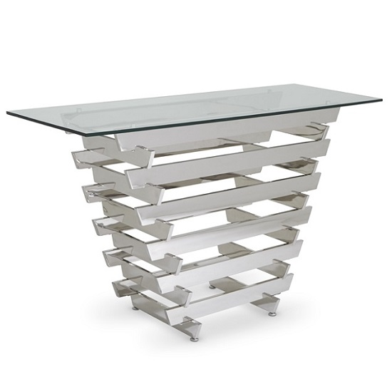 Aqua Glass Console Table With Polished Stainless Steel Base_1