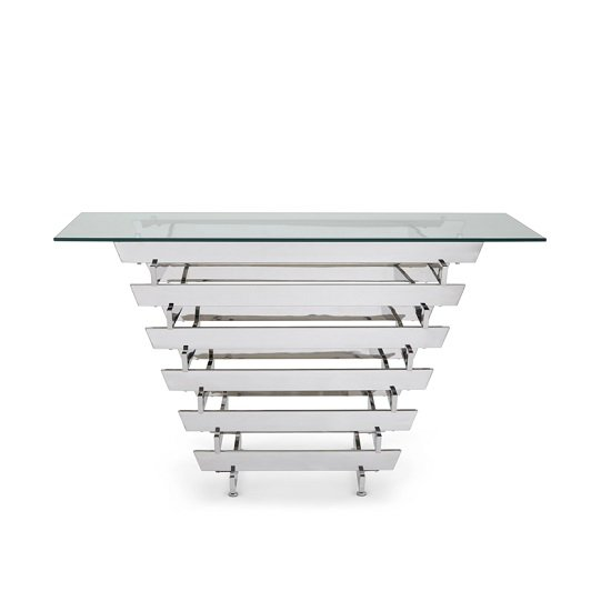 Aqua Glass Console Table With Polished Stainless Steel Base_2