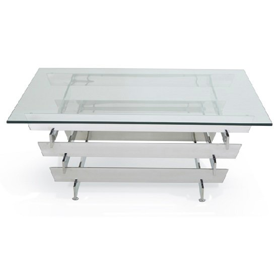 Aqua Glass Coffee Table Square And Polished Stainless Steel