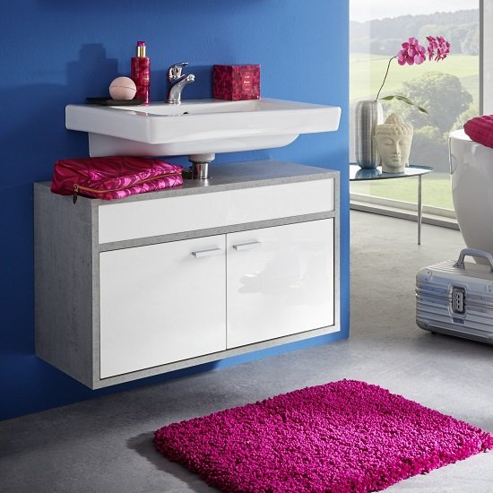Aqua Wall Mount Vanity Cabinet In Concrete And Gloss White Front