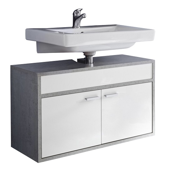 Aqua Wall Mounted Vanity Cabinet In Concrete And Gloss