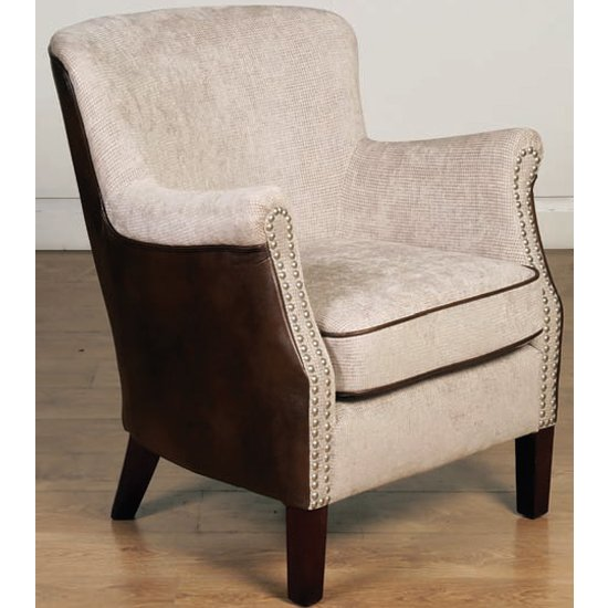 Aquarii Chenille Leather Fabric Lounge Armchair In Tan Fusion