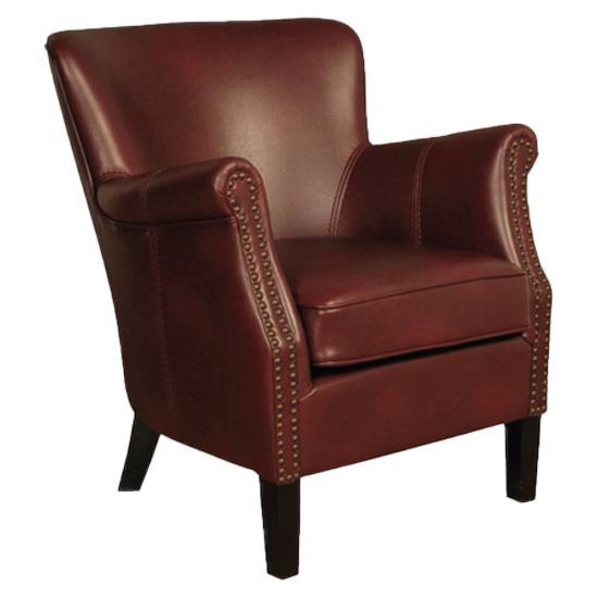 Aquarii Leather Air Fabric Lounge Armchair Burgundy_2