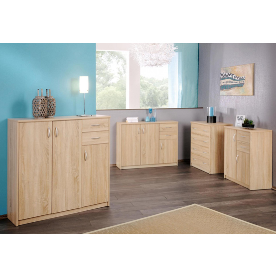 Aquarius Large Sideboard In Sonoma Oak With 3 Doors And 2 Drawer_3