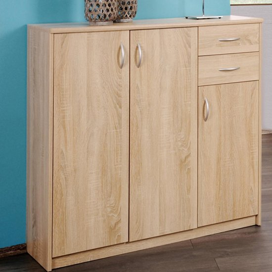 Aquarius Large Sideboard In Sonoma Oak With 3 Doors And 2 Drawer_1