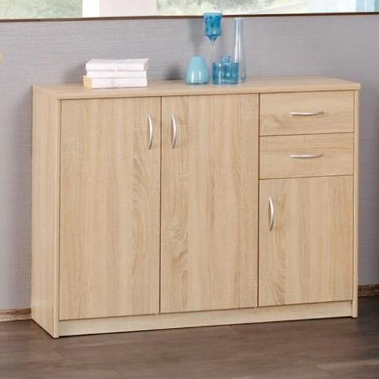 Aquarius Medium Sideboard In Sonoma Oak With 3 Doors 2 Drawers