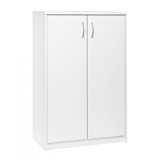 Aquarius Narrow Shoe Storage Cabinet In White With 2 Doors
