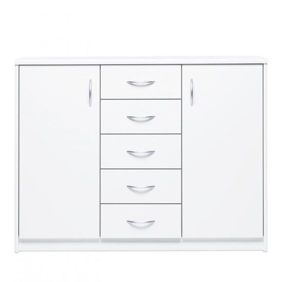 Aquarius Wide Sideboard In White With 2 Doors 5 Drawers_2