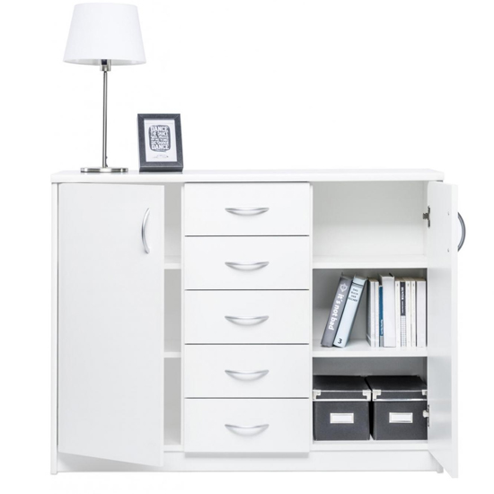 Aquarius Wide Sideboard In White With 2 Doors 5 Drawers_3