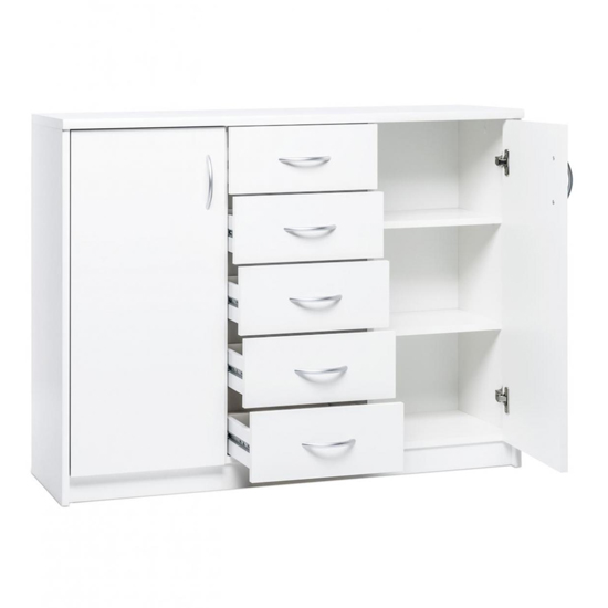 Aquarius Wide Sideboard In White With 2 Doors 5 Drawers_4