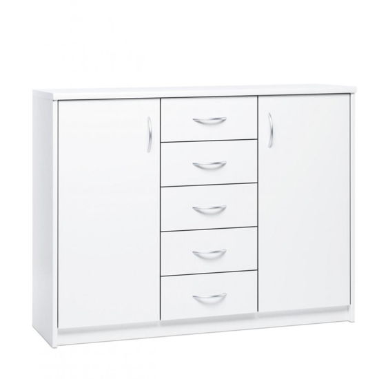 Aquarius Wide Sideboard In White With 2 Doors 5 Drawers