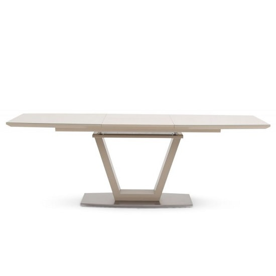 Aqueline Glass Extendable Dining Table With Cream High Gloss