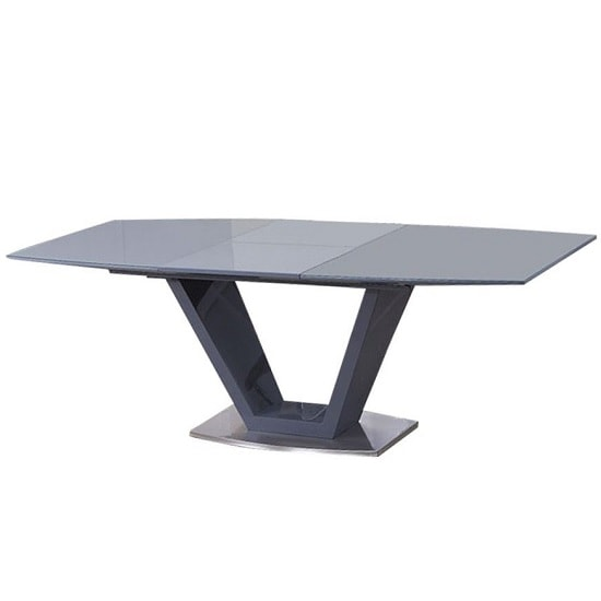 Aqueline Glass Extendable Dining Table With Grey High Gloss