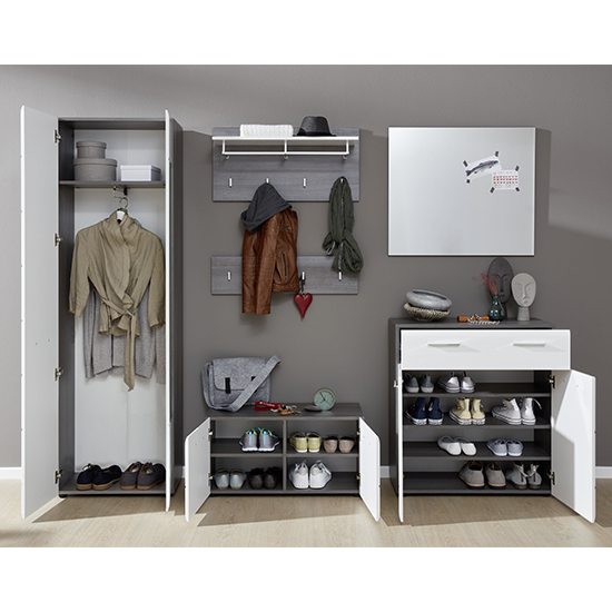 Aquila Hallway Furniture Set In White Gloss And Smoky Silver_2