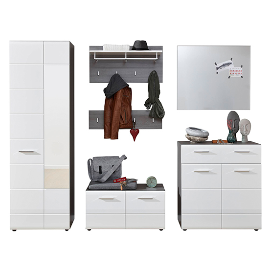 Aquila Hallway Furniture Set In White Gloss And Smoky Silver_3