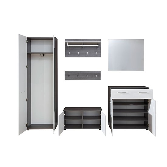 Aquila Hallway Furniture Set In White Gloss And Smoky Silver_4