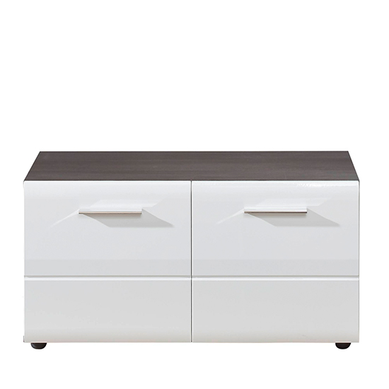 Aquila Hallway Furniture Set In White Gloss And Smoky Silver_6