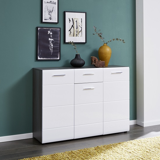 Aquila Medium Sideboard In Smoky Silver And White Gloss Fronts
