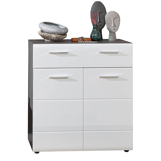 Aquila Shoe Storage Cabinet In White Gloss And Smoky Silver_2