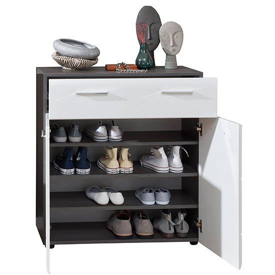 Aquila Shoe Storage Cabinet In White Gloss And Smoky Silver_3