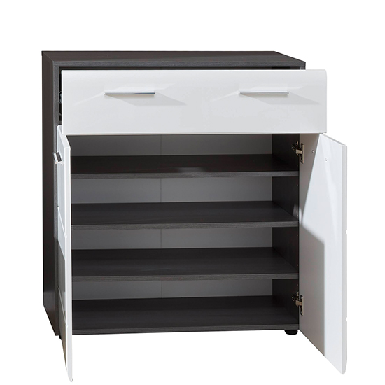 Aquila Shoe Storage Cabinet In White Gloss And Smoky Silver_4