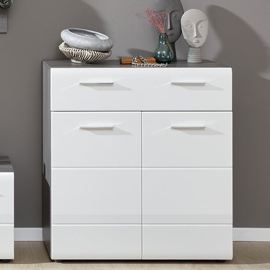 Aquila Shoe Storage Cabinet In White Gloss And Smoky Silver_1