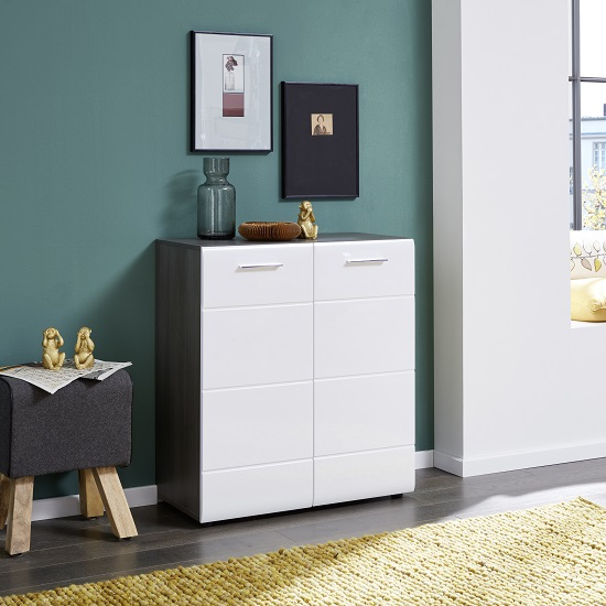Aquila Small Sideboard In Smoky Silver And White Gloss Fronts