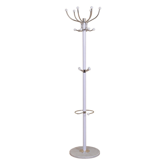 Aquilae Hat and Coat Stand In White With Granite Base