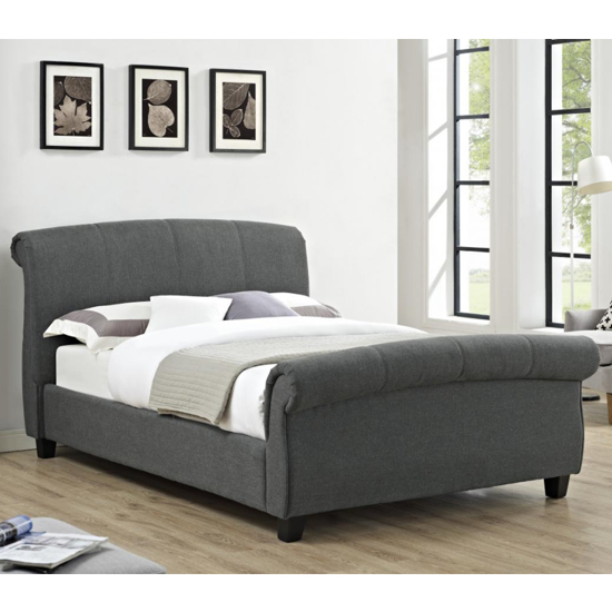 Arabella Linen Fabric Double Bed In Grey