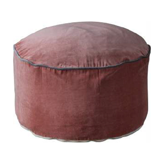Arabella Velvet Upholstered Pouffe In Blush