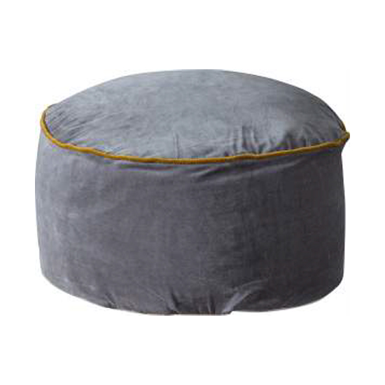 Arabella Velvet Upholstered Pouffe In Grey