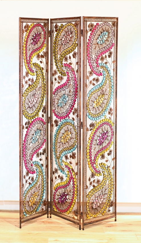 Paisly Metal Design Room Divider In Multi Coloured Detail