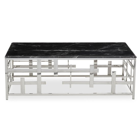 View Aralia black marble top coffee table with silver metal frame