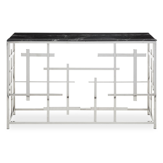 View Aralia black marble top console table with silver metal frame