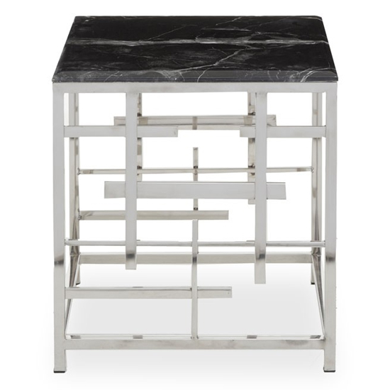 View Aralia black marble top side table with silver metal frame