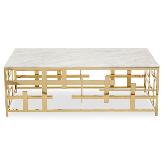 View Aralia white marble top coffee table with gold metal frame