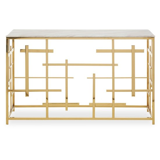 View Aralia white marble top console table with gold metal frame