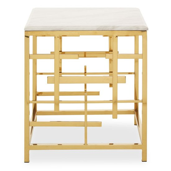 View Aralia white marble top side table with gold metal frame