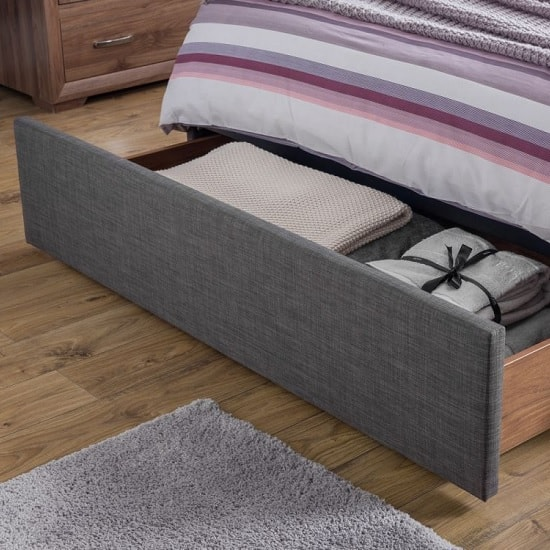 Aramis Fabric King Size Bed In Slate Grey Linen With Drawer_2