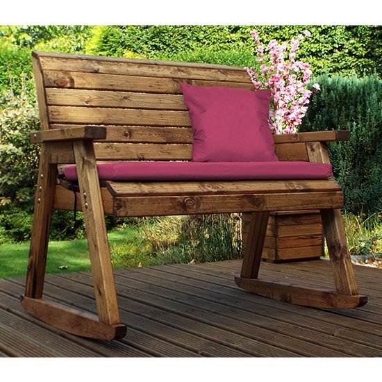 Arato 2 Seater Rocking Bench With Burgundy Cushion