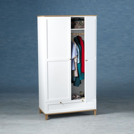 Armedia 2 Door Wooden Wardrobe With 1 Drawer