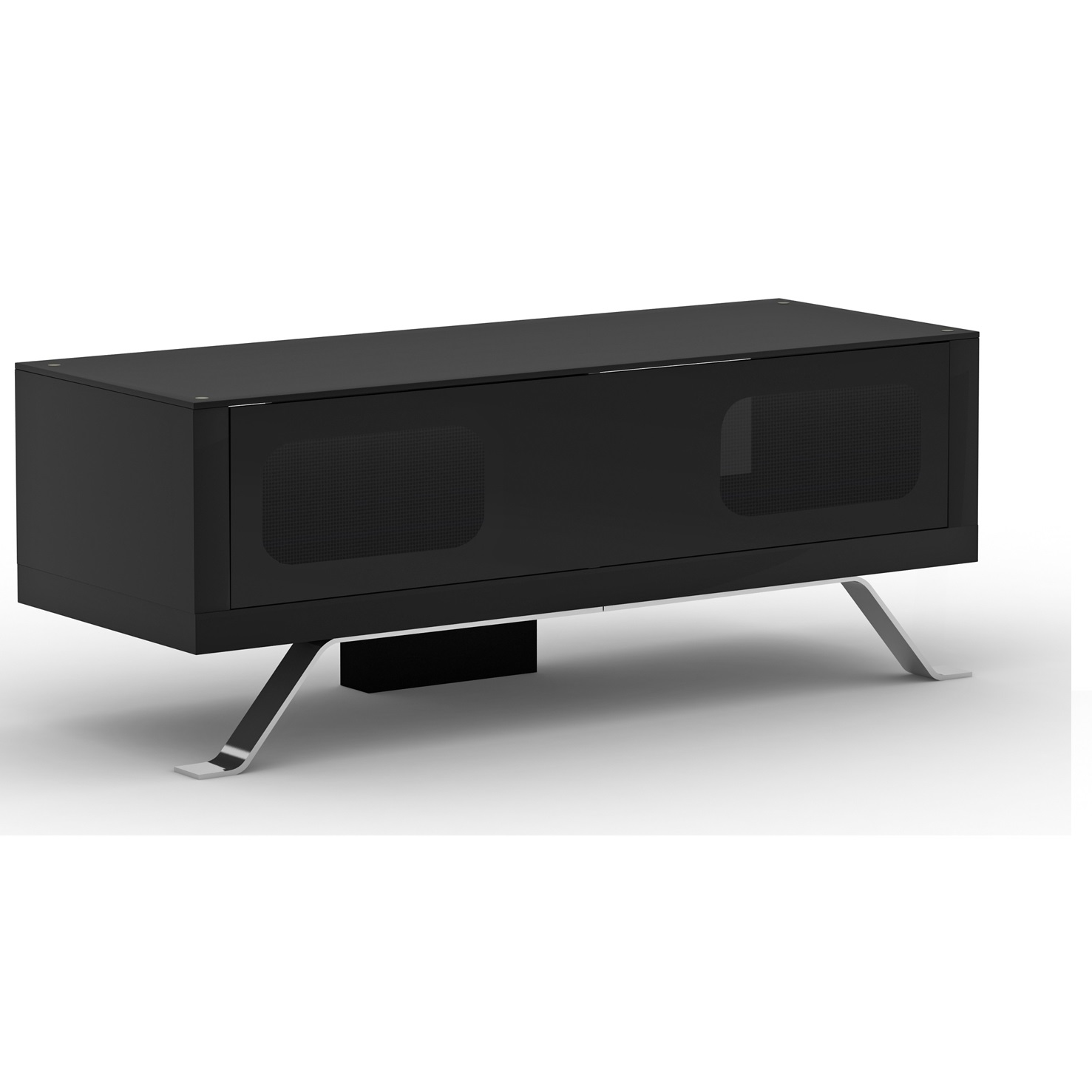 Arcadia Black TV Cabinet With Glass Top